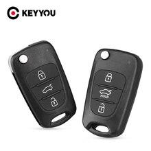 Keyyou 40x novo caso chave para kia sportage picanto 3 rio k2 k5 para hyundai solaris carro flip chave escudo em branco 3 botões remoto fob
