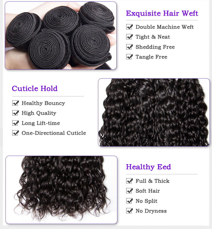 H96bed4db1aec471488c82125e4e9f46ce Malaysian Water Wave Human Hair Bundles With Closure 3 or 4 Bundles With Closure LeModa Remy Hair Extensions Middle Free Closure