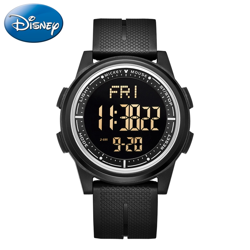 LED Digital Watch Rubber 5ATM Waterproof Children Electronic Watches Disney Mickey Mouse Students Sport Teen Clocks Boy Gift New