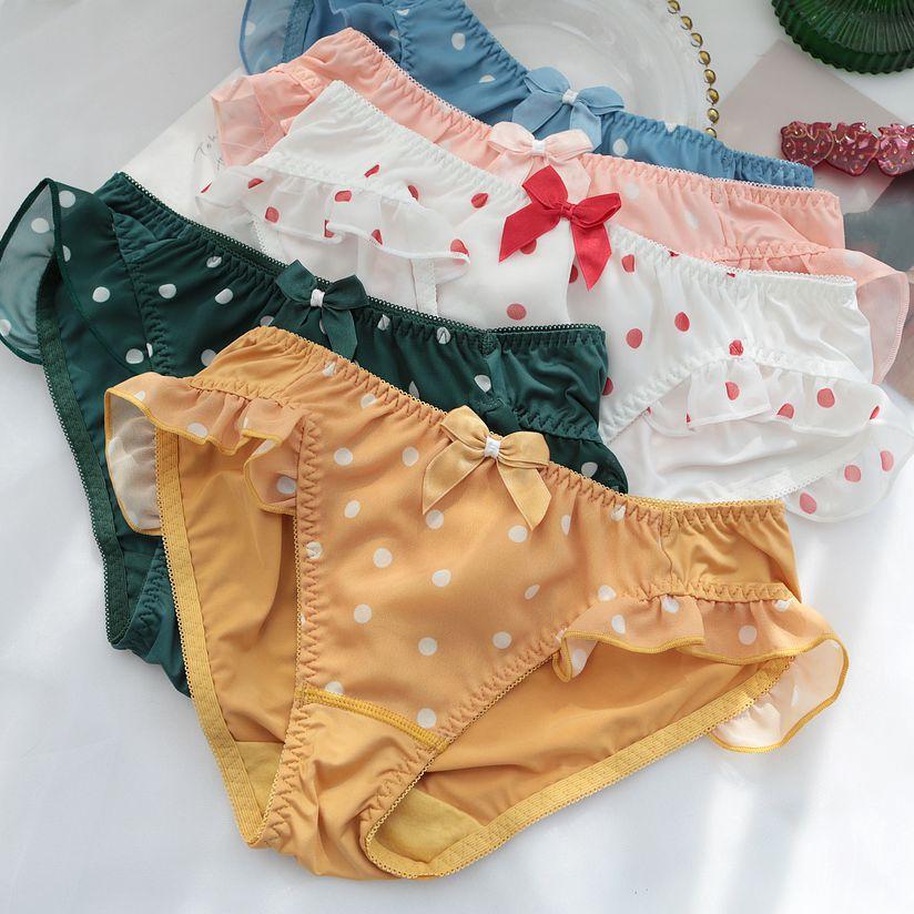 Girls Underwear Women Ropa Interior Femenina Majtki Damskie Sexy Panties Women Sweet Cute Bow With Lotus Leaf Dot Bragas Mujer