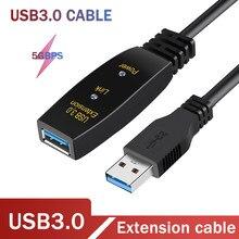 Extensão ativa do cabo de usb 3.0 com amplificador de sinal cabo de extensão do repetidor usb3.0 cabo de extensão de dados de alta velocidade 5gbps