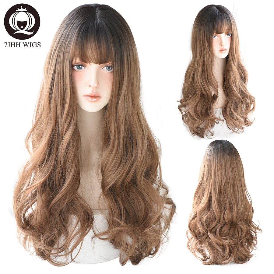 7JHH WIGS Lolita Wigs With Bangs For Women Long Deep Wave Omber Brown Black Layer Hair Heat Resistant Cosplay Synthetic Wig