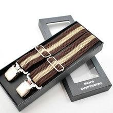 2021 Men Leather 3 Clip Elastic Braces Wedding Shirt Stay Locking Clamps Trousers Suspenders Adjustable Strap Garter Holder Belt