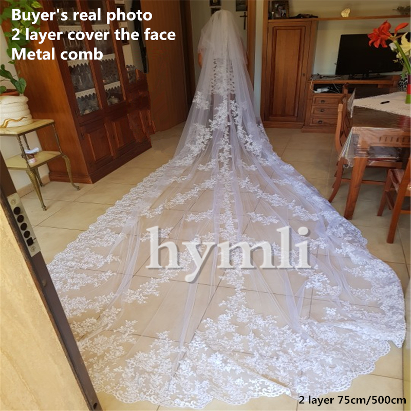 Real Photo 2 Layer 5 Meters Extra Long Bridal Veil Lace Wedding Veil Cover The Face With Metal Comb