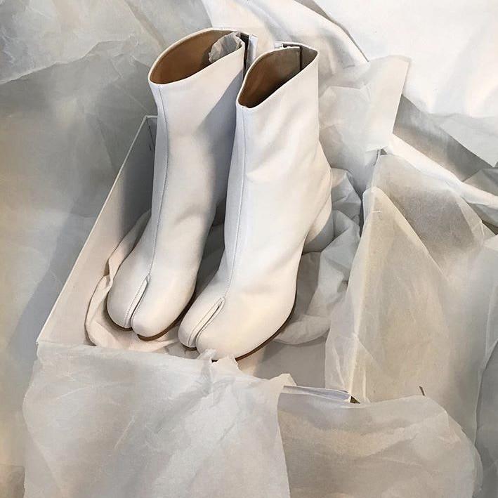F M; пикантные ботильоны с раздельным носком; женские натуральные кожаные военные ботинки; Цвет черный, коричневый; короткие мотоботы для женщин; Размеры 35 42 - 6