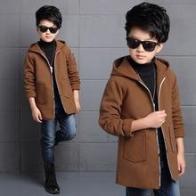Плотное шерстяное пальто на молнии; сезон осень-зима детское длинное шерстяное пальто ветровка для мальчиков; детское зимнее пальто; коричневая одежда