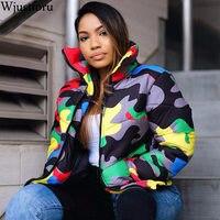 Wjustforu S 4XL Plus Size Camouflage Print Winter Wear Bubble Coat Female Cropped Puffer Down Jacket Plus Size Parka Outerwear