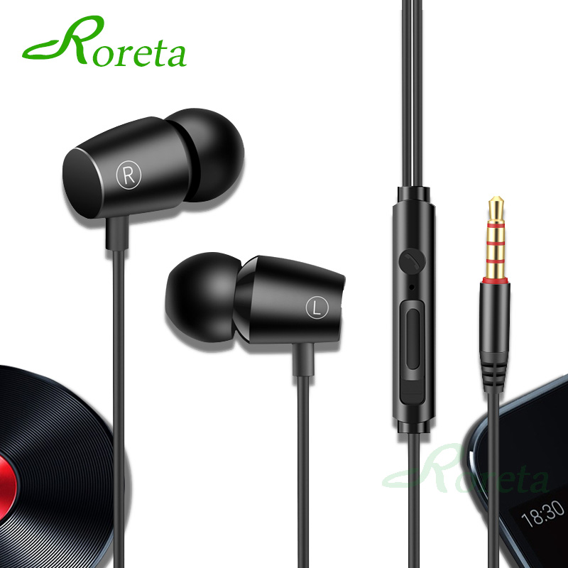 Roreta High Bass Stereo Wired Earphone Sport In-Ear Earphones With Microphone Computer MP3 Earbuds Headset For Android IOS