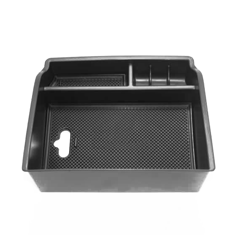 ABS + caoutchouc voiture boîte de rangement noir accessoires accoudoir conteneur boîte de rangement tapis antidérapant pour Toyota Hilux Revo 2015-2017