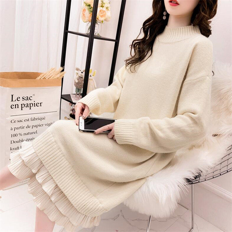 2019 Female Sweater Autumn And Winter Thick Warm Long Solid Color Long Sleeves Over The Knee Velvet Hem Knit