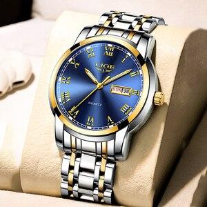 Image 1 - ליגע שעון גברים אופנה ספורט קוורץ מלא פלדת זהב עסקים Mens שעונים למעלה מותג יוקרה עמיד למים שעון Relogio Masculino
