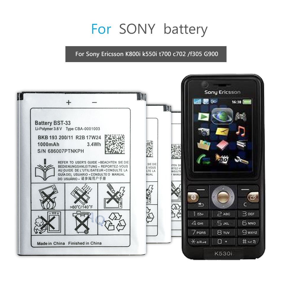 BST-33 Mobile Phone Battery For <font><b>Sony</b></font> <font><b>Ericsson</b></font> K800i K810i C702 C903 F305 G900 <font><b>K550i</b></font> K630i K660i W100I T700 T715 image