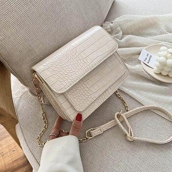 Small Crocodile Pattern PU Leather Flap  Bags For Women 2020 Simple Shoulder Crossbody Handbags Chain Cross Body Bag
