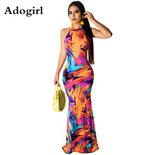 Adogirl Women Boho Floral Print Halter Summer Beach Maix Dress Sexy Back Hollow Out Evening Party Dresses Female Sundress