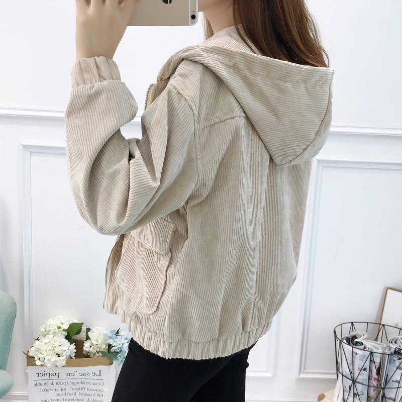 H96c06076bb35426ea19aeb4c51ec0c55U Jacket Chaqueta Coat  Clothes Streetwear New 2019 Women Jacket Long Sleeve Turn-down Collar Outerwear Brown Corduroy Coat Jacket