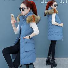 Women Long Waistcoat Hooded Winter Vest Female Thick Warm Sleeveless Parkas Slim Fashion Gilet Outwear Down Cotton Vest(China)