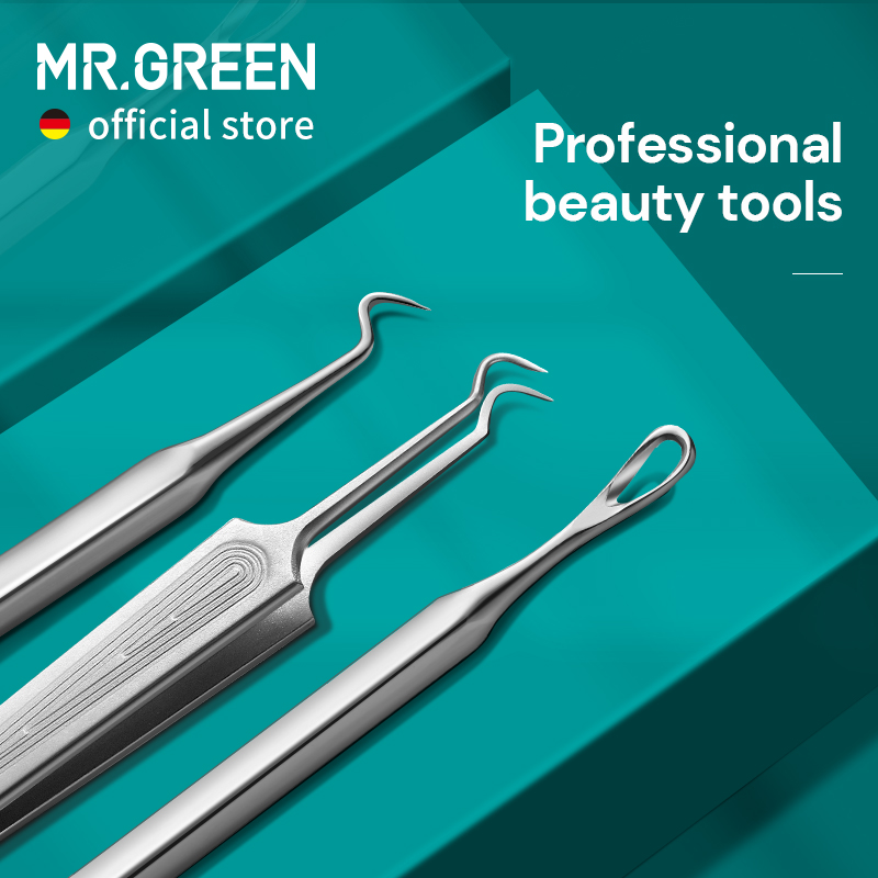 MR.GREEN Acne Remover Needles Blackhead Removal Pimple Comedone Extractor Set Blemish Zit Face Skin Care Cleaner Removal Tools