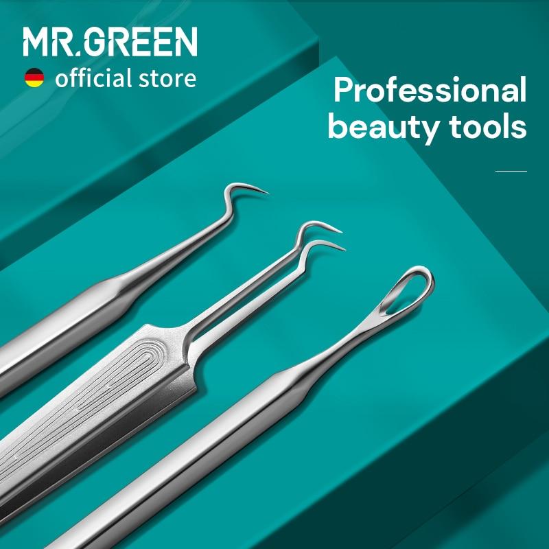 Mr. Groene Acne Remover Naalden Mee-eter Verwijderen Puistje Comedo Extractor Set Smet Zit Gezicht Skin Care Cleaner Removal Tools