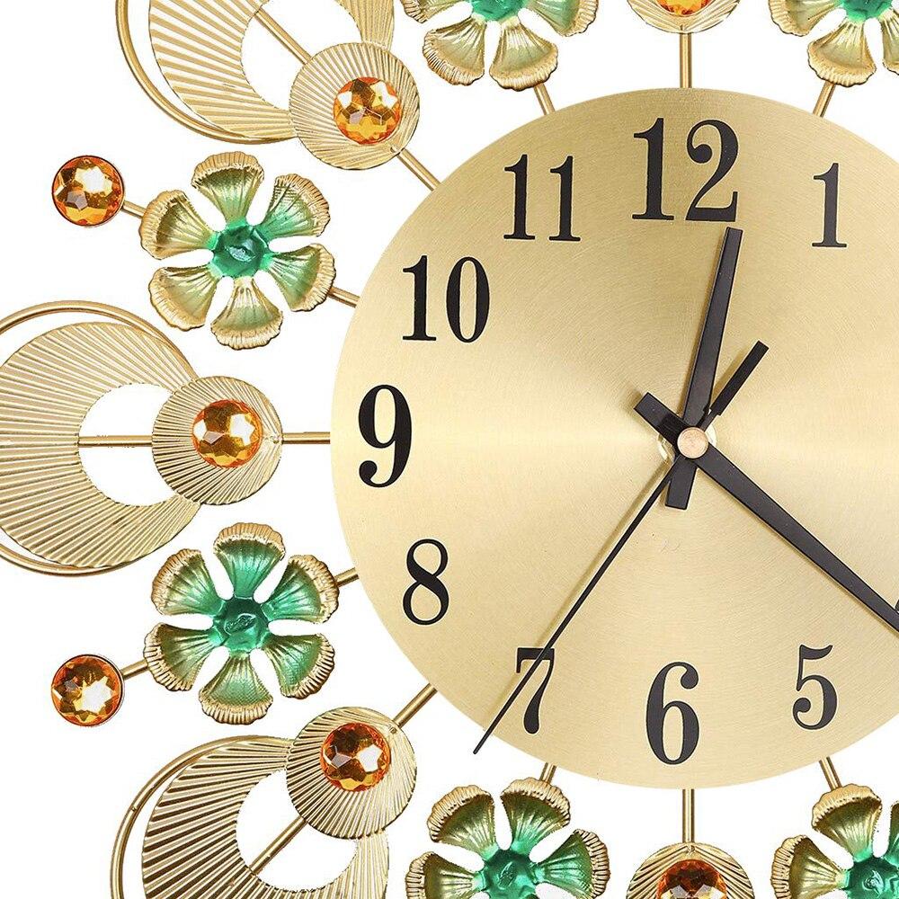 Hot Mute Art Large Wall Clock European Retro Flower Diamond Wrought Iron Wall Clock Creative Mute Wall Clock Living Room Decorat