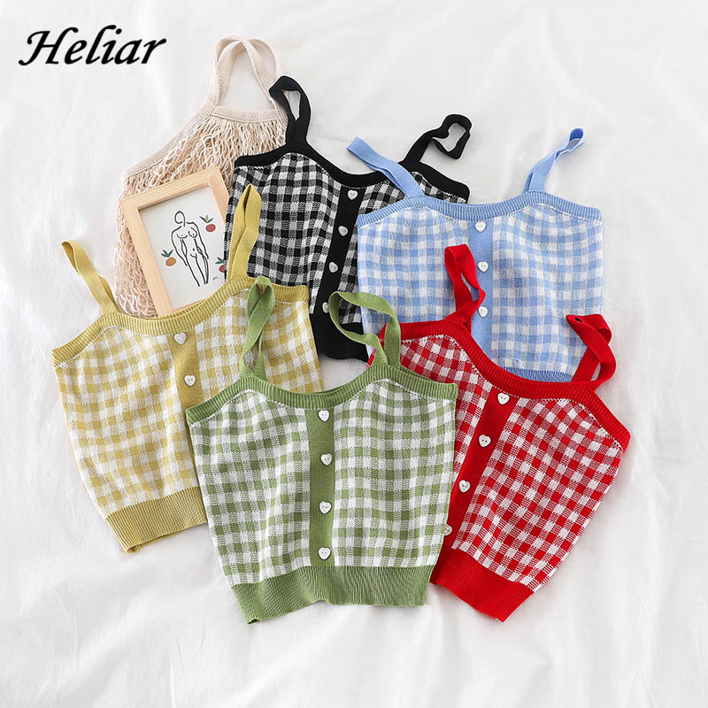 HELIAR Tops Women Blue Plaid Straps Camis With Buttons Club Seey Knitted Tops Female Tank Tops Ladies Sleeveless Crop Tops Women