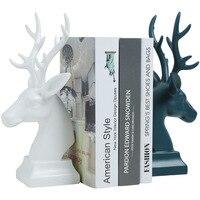 Home Decoration Ceramic Deer Head Model Statue Jewelry Deer Mini Bookend Desktop Crafts Wedding Gift