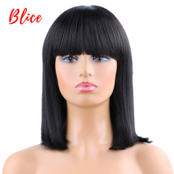 Blice Short Straight Synthetic Wig With Bangs For Women Natural  Black 1B# Bob Wig Heat Resistant Cosplay Party Wigs Kanekalon цена 2017