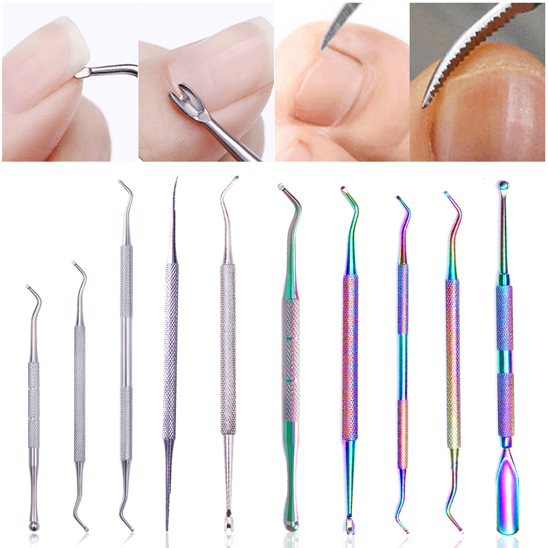 1 Pc Dual-ended Cuticle Pusher Fork Stainless Steel  Clean Hook Remover Foot Care Toe Ingrown Pedicure Tool  Nails