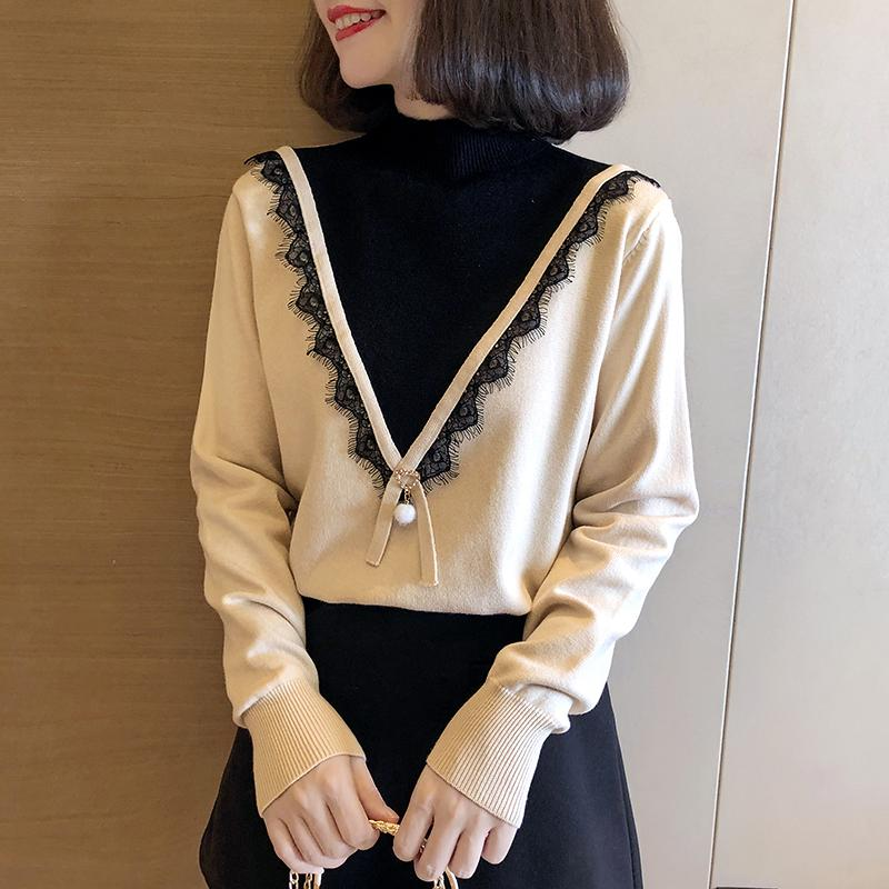 Women's Half-neck Turtleneck Women's Autumn And Winter New Loose Was Thin Shirt Lace Knit Bottoming Shirt Women