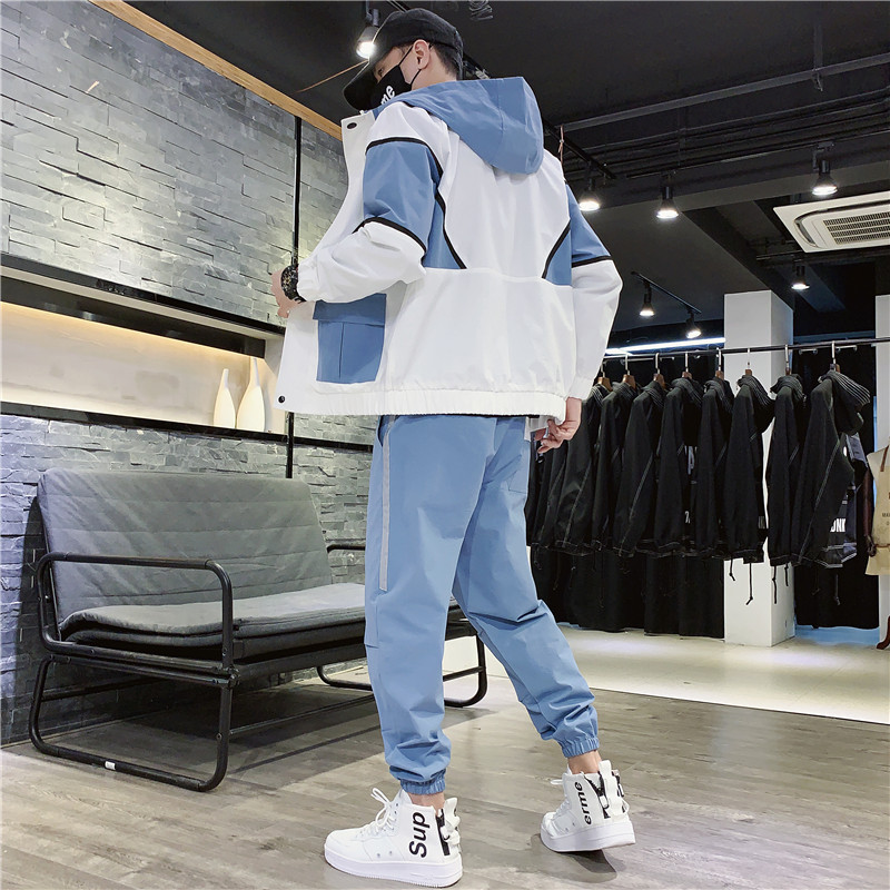 Men's Tracksuit Fall/winter Man Two-piece Set Sweat Suit Polyester Overalls Korean Leisure Suit Hoodies/harlan Pants Plus Size