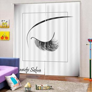 Custom Curtain Decoration 3D Brief Eyelash Curtains For Bedroom Living room Polyester Room Curtain