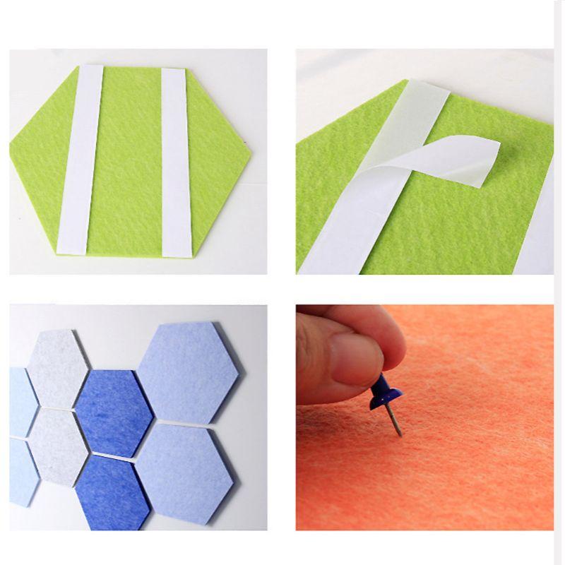 5PCS Hexagon Felt Pin Board Self Adhesive Bulletin Memo Photo Cork Boards Colorful Foam Wall Decorative Tiles