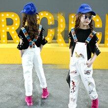 Kids Girls Denim Overalls 2019 Autum Children Clothes Girl Fashion Suspender Trousers Baby Teen Cute Cartoon Jeans Pants 5-16 Y цена 2017