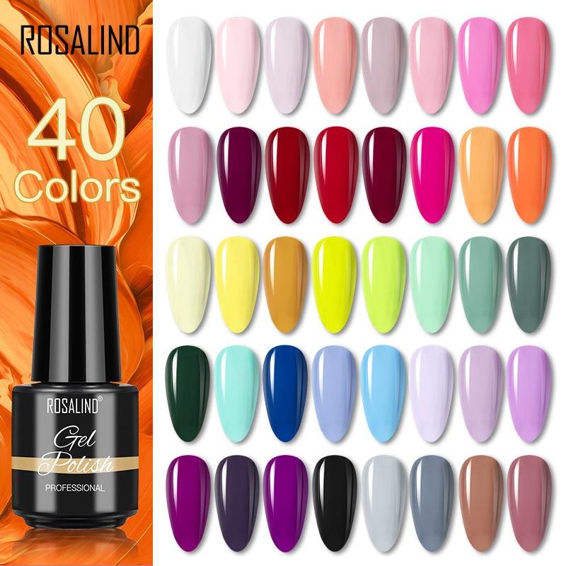ROSALIND 7ML Gel Polnischen Glitte Farben Hybrid Lack Nägel Kunst Alle Für Maniküre Benötigen UV LED Lampe Basis Top mantel Primer Gellak