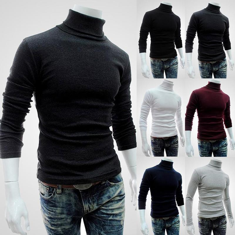High Quality Warm Turtleneck Sweater Men Fashion Solid Knitted Mens Sweaters Casual Slim Pullover Male Double Collar Tops