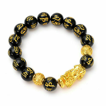 Feng Shui Obsidian Stone Beads Bracelet Men Women Unisex Wristband Gold Black Pixiu Wealth and Good Luck  Women Bracelet 1