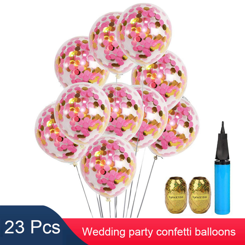 20pcs 12 Inch Confetti Balloons Decorations For Baby Shower Wedding Birthday Celebration Party With Air Pump Curling Ribbon