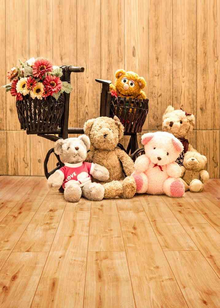 5x7FT สีไม้ผนังตะกร้าดอกไม้หมีของเล่นเด็กของเล่นเด็ก Custom Photo Studio ฉากหลังพื้นหลังไวนิล 220cm x 150 ซม.