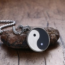 ZORCVENS Chinese Mystical Symbol Yin Yang Pendant Necklace for Men Stainless Steel Gossip Meditates Yoga Two Tone Male Jewelry