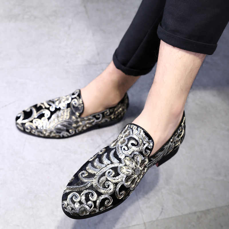 Mannen Casual Borduren Glitter Kleding Schoenen Luxe Sociale Designer Rijden Mode Heren Schoenen Formele Bruiloft Schoenen Plus Size