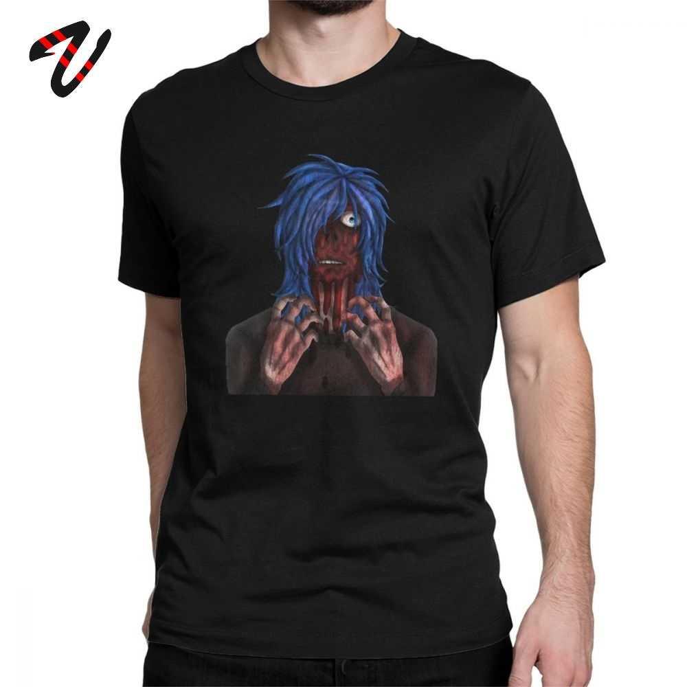 Tshirt engraçado Sally Rosto Peruca Azul T-shirt Dos Homens Novidade Premium Algodão Camiseta O Pescoço de Manga Curta T Shirts Melhor idéia do presente Tops
