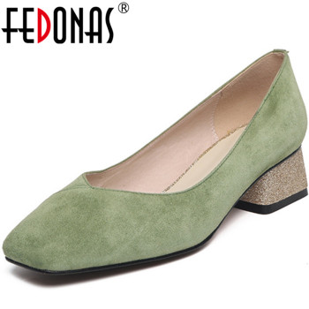 FEDONAS New Arrival Women Party Wedding Pumps Spring Summer Square Heels Shoes Suede Leather High Quality Shoes Woman