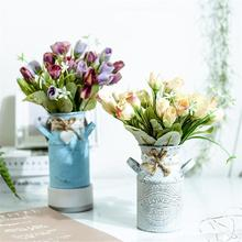 Vase Iron-Bucket Vintage-Table Garden-Plants Home-Decoration Shabby Pots Wedding-Flower