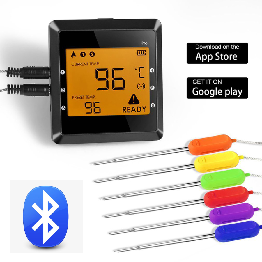 Wireless Bluetooth Smart BBQ Thermometer W/ 6 Stainless Steel Probes, Large LCD Display, Carrying Case, Cooking Thermometer USA