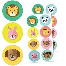 Rouleau d'autocollants animaux du Zoo pour enfants, étiquette adhésive, mignon, pour journal intime, papeterie scolaire, cadeau, Diy bricolage, 96 pièces
