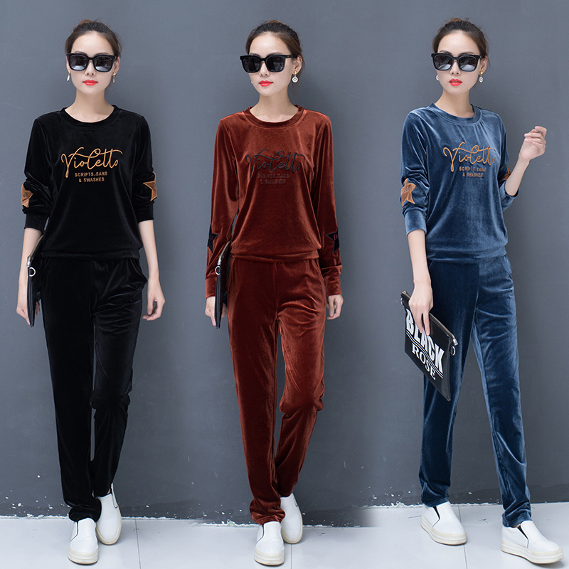 Two Piece Set Velour Tracksuit Women Ensemble Femme 2 Pieces Conjunto Deportivo Mujer Letter Print Velvet Tracksuit Lounge Wear