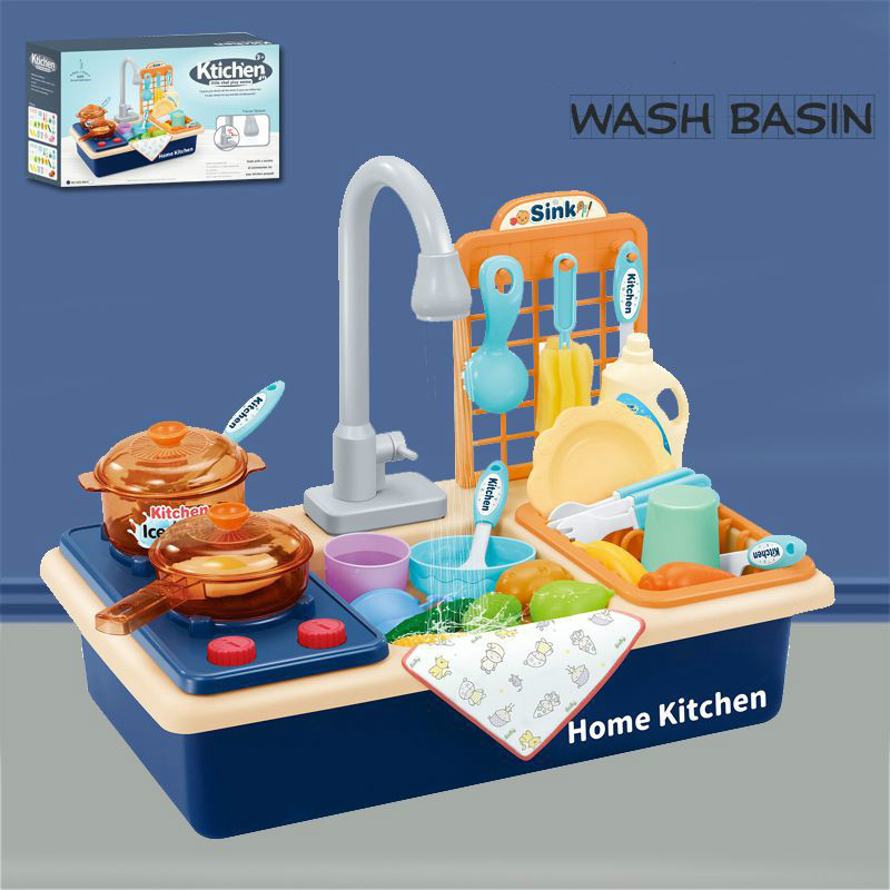 Kids Plastic Simulation Electric Dishwasher Sink Pretend Play Kitchen Toys With Electric Water Wash Basin Kit For Children Gifts