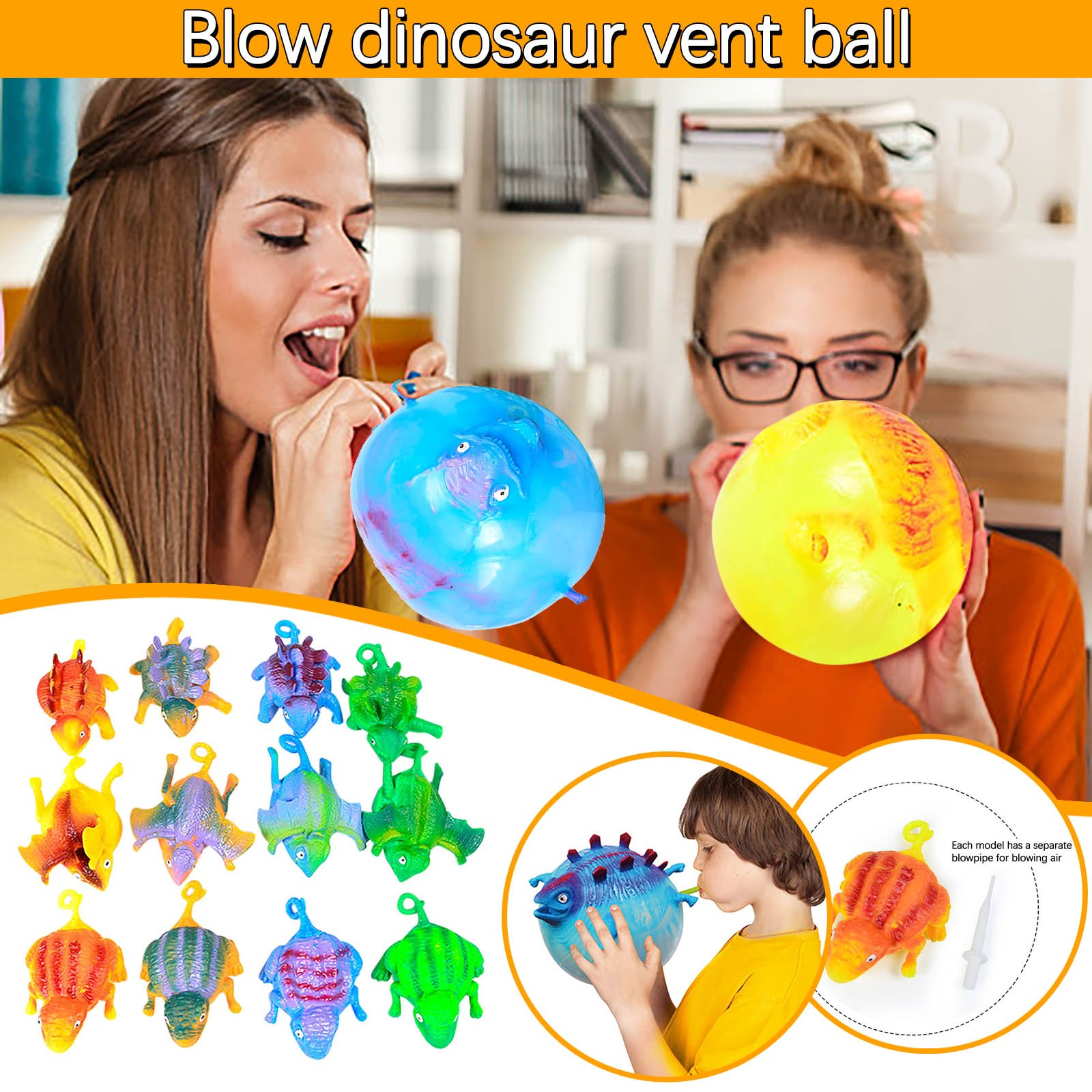Squeeze Toys 12Pcs Balloon Dinosaurs Kids Funny Blowing Inflatable Animals Dinosaur Stress Relief Balloons Ball Novelty Toys enlarge