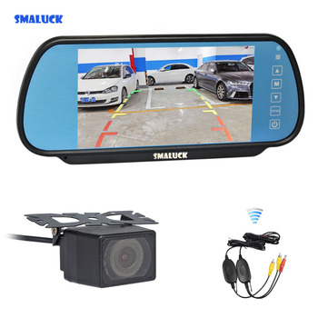 SMALUCK Wireless 7inch LCD Display Rear View Mirror Car Monitor + IR Night Vision Car Camera Parking Assistance System Kit фото
