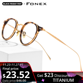 FONEX Titanium Optical Glasses Frame Men Vintage Round Prescription Eyeglasses Women Retro Myopia Acetate Spectacles Eyewear 850 acetate optical glasses frame men full retro vintage round circle prescription eyeglasses nerd women spectacles myopia eyewear