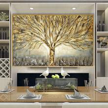Ddhh arte da parede ouro árvore cartaz pintura em tela abstrata fotos para sala de estar decoração casa cartazes e impressões sem moldura